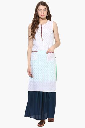 JUNIPER Womens Dobby Embroidered Kurta With Long Skirt