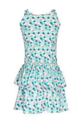 Girls Round Neck Printed Tiered Dress