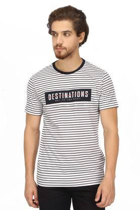Mens Round Neck Striped T-Shirt