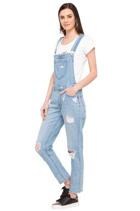 Womens Square Neck Heavy Wash Dungarees
