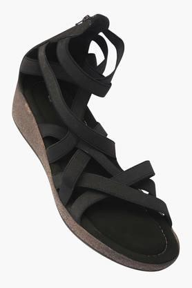 RAW HIDE Womens Casual Wear Zipper Closure Wedge Sandals