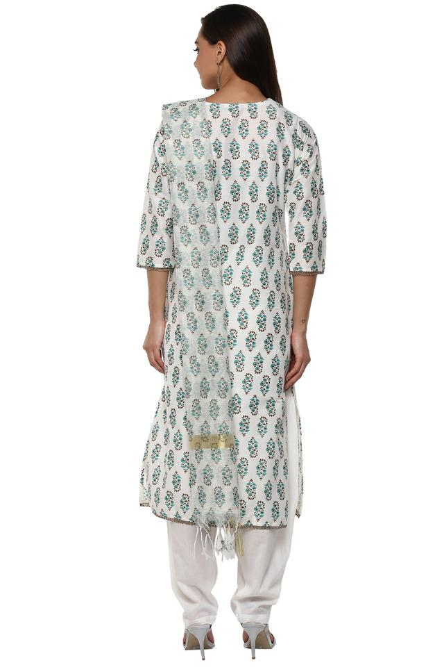 Womens Notched Collar Printed Salwar Suit