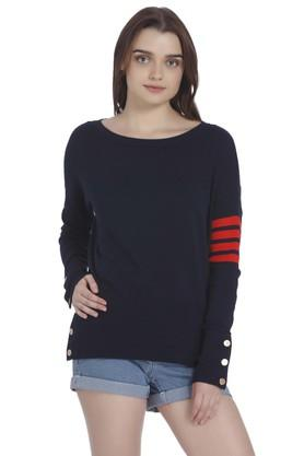 VERO MODA Womens Round Neck Solid Sweatshirt