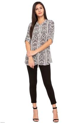 Womens Mandarin Neck Printed Tunic