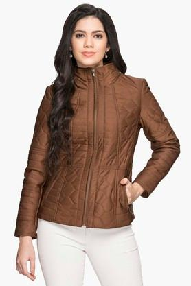 GIPSY Womens Zip Through Solid Quilted Jacket