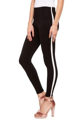 Womens Solid Side Taped Treggings