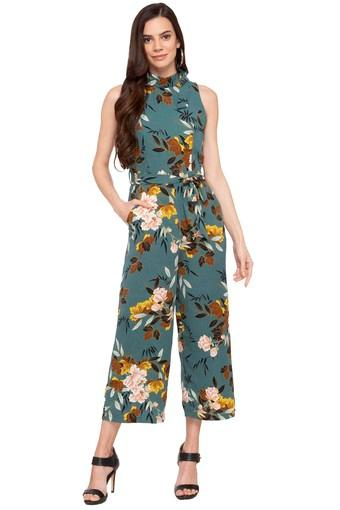 Womens Collared Printed Jumpsuit