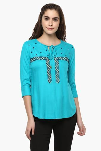 689a58045d Buy THE VANCA Womens Embroidered Tie Up Neck Boho Top ...