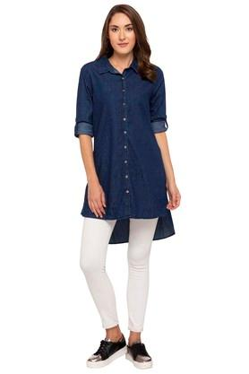 Womens Collared Assorted Long Shirt