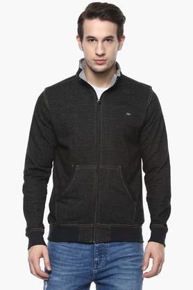 PROLINEMens Zip Through Neck Slub Sweatshirt
