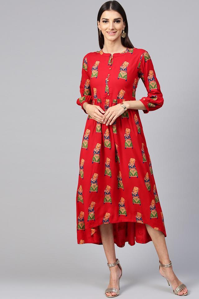 Womens Mandarin Collar Printed High Low Dress