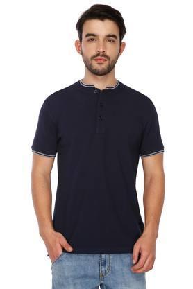 Mens Mao Collar Solid T-Shirt