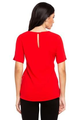 Womens Round Neck Solid Tie Up Top