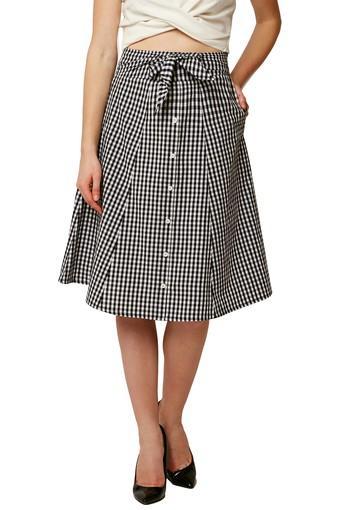 Womens 2 Pocket Check Knee Length Skirt