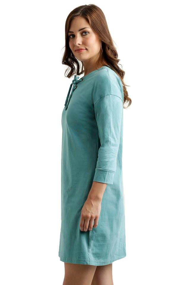 Womens Tie Up Neck Assorted Shift Dress