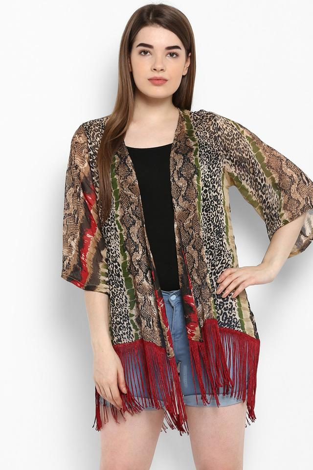 Womens Open Front Printed Shrug with Fringes