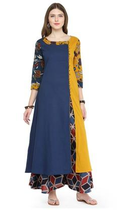 VARANGA Women Cotton Block Print A-line Kurta