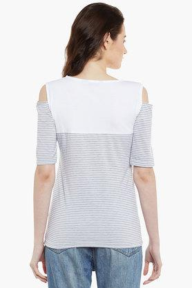 Womens Round Neck Relaxed Fit Stripe Top