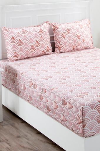 Superfine Cotton Pink Double Bedsheet with 2 Pillow Covers - 210 TC