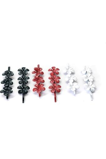 Womens Floral Hair Clips Pack of 6