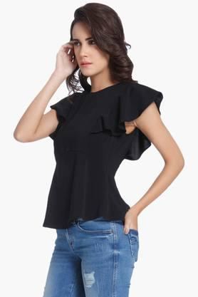 Womens Round Neck Solid Peplum Top