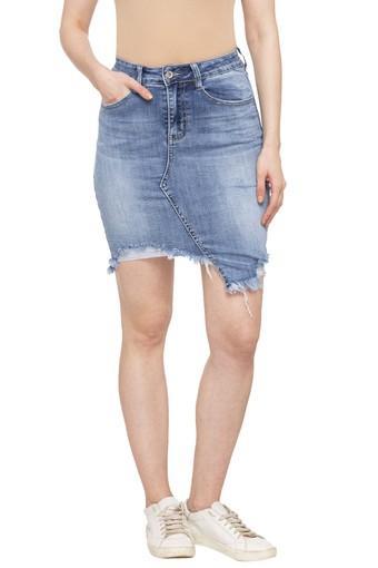 Womens 5 Pocket Whiskered Effect Skirts