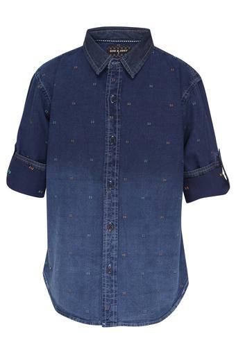 Boys Collared Ombre Shirt