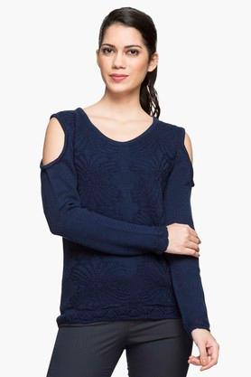 WILLS LIFESTYLE Womens Round Neck Knitted Sweater