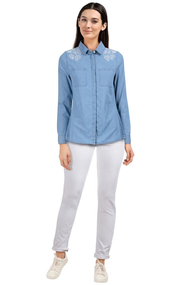 Womens 2 Pocket Embroidered Shirt