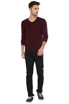 Mens V Neck Self Pattern Sweater