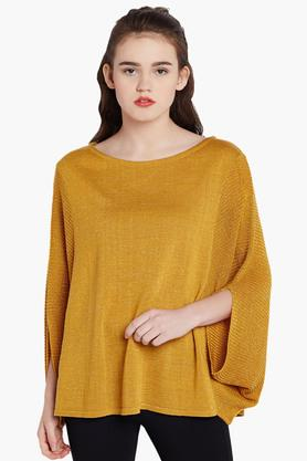 COVER STORY Womens Round Neck Textured Sweater
