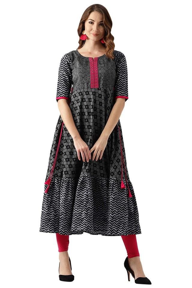 Womens Cotton Printed Anarkali Kurta