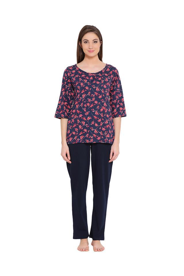 Womens Floral Print Top and Printed Pyjamas Set