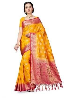 ISHINWomens Gold Woven Saree With Blouse Piece - 204668439_9418