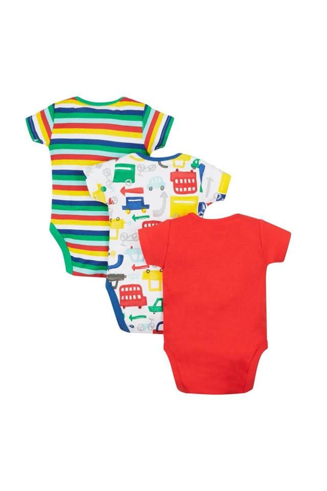 Boys Envelope Neck Printed and Striped Babysuits - Pack Of 3