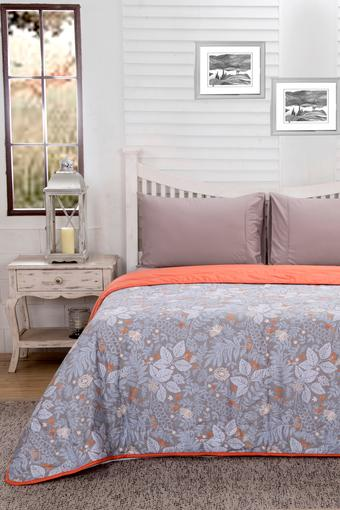 Essence Floral Sophie Grey Printed Cotton 100 GSM Double Quilt