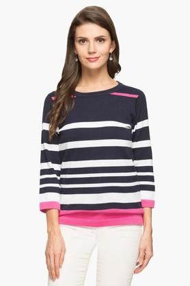 STOP Womens Round Neck Stripe Sweater - 203404205