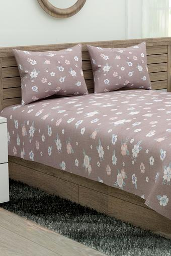 Floral Print Double Bed Sheet with 2 Pillow Covers