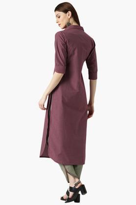 Womens Blend Straight Checks Kurta With Trouser