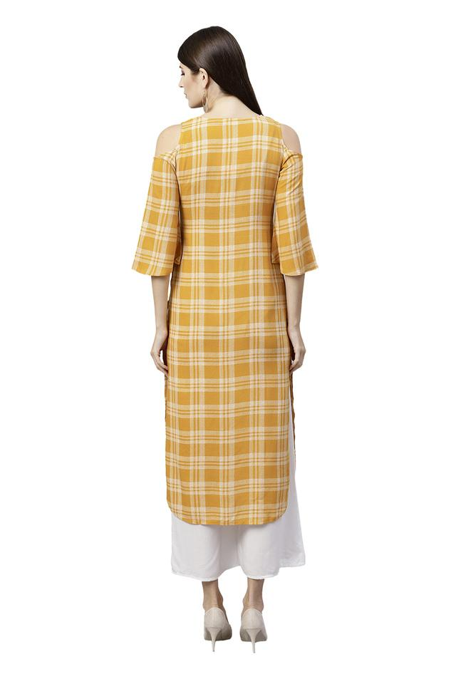 Womens Key Hole Neck Checked Kurta