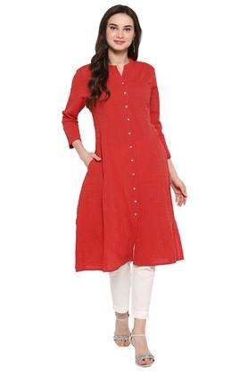 JUNIPER Womens Red Kantha A-Line Kurta With Pant