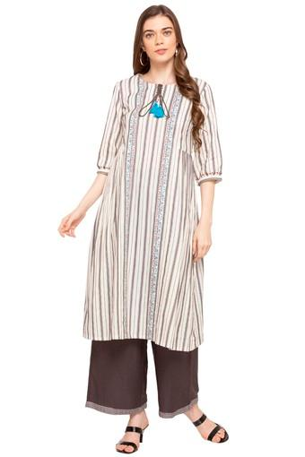 Womens Tie Up Neck Striped Kurta