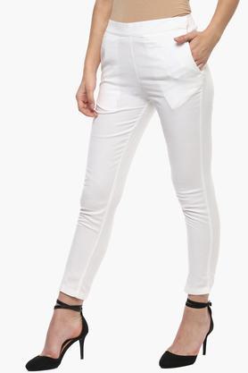 Womens 2 Pocket Solid Pencil Pants