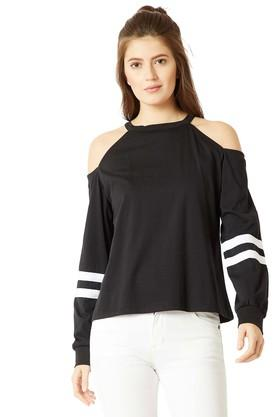 MISS CHASE Womens Round Neck Solid Sweatshirt - 204900544_9212