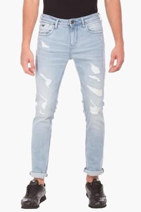 F2000Mens Tapered Fit Distressed Jeans (Micheal Fit)