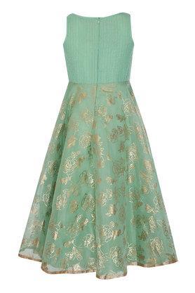Girls Round Neck Embellished Gown