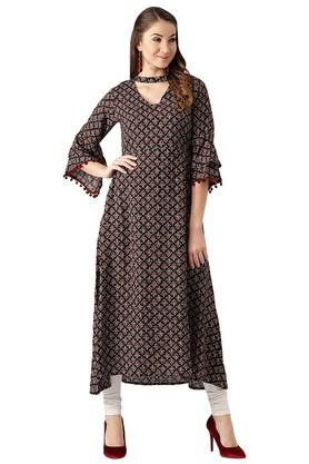 LIBAS Womens Rayon Printed Aline High Low Kurta