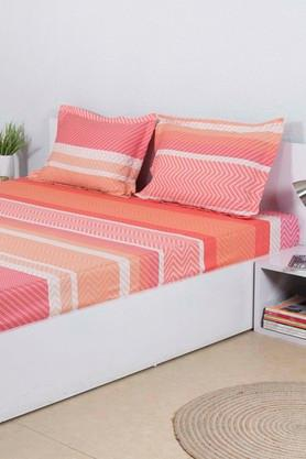 HOUSE THISStripe Double Bed Sheet With 2 Pillow Covers