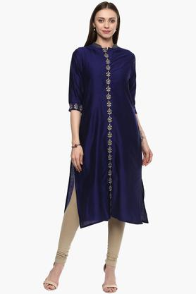 KASHISH Womens Band Neck Embroidered Kurta