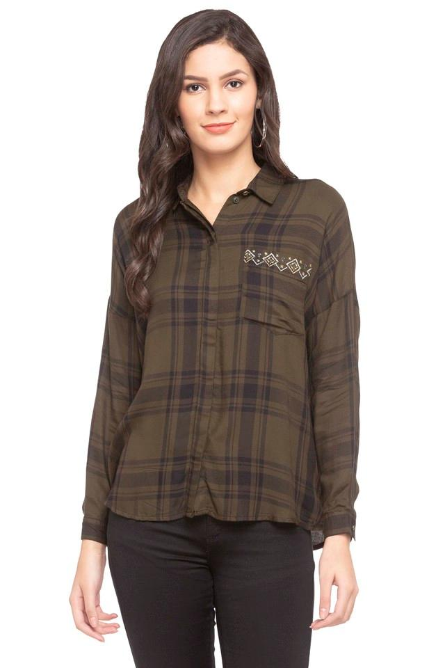 Womens Collared Check Embroidered Shirt